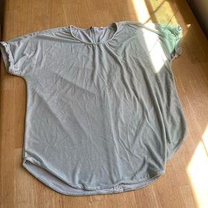 Dusty light blue velvet top